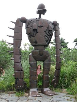 I'm only sma!! Can you spot me? Giant robot from Laputa on top of Studio Ghibli building, Sarah T - August 2009