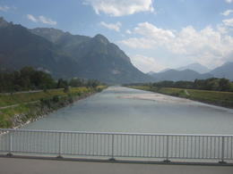 Rhine River - Liechtenstein left, Switzerland right. , Richard M - August 2013