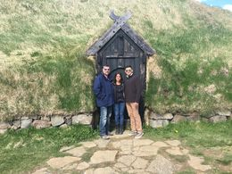 In front of Stong Medieval Icelandic Farm , Rebecca C - May 2016