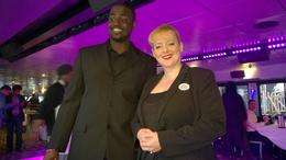 Cruise director and Deejay greeting all the guests , Valerie E - April 2014