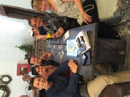 Koumpouras Family enjoying a local winery with our tour guide, Mikos. , sallyjk54 - May 2015