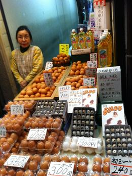 Nishiki Market is full of wonderful people and characters like this beautiful and kind lady whose stall only sells eggs. The market stall holders are very friendly and will talk to you providing a ... , Ronald M - April 2013