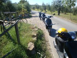 Our vespas lined in a row, Christopher F - September 2010