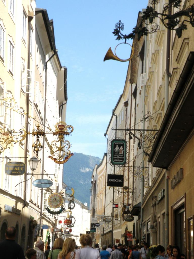 shop signs in the Old Town - Salzburg