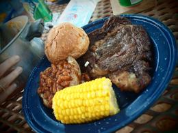 Delicious steak dinner cooked for us at the ranch, Craig S - May 2010