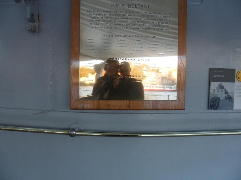 Us reflected in the Belfast Placard - London