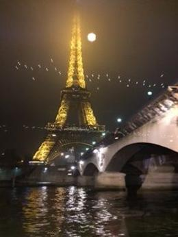 Eiffel Tower with the full moon. , Patricia B - January 2017