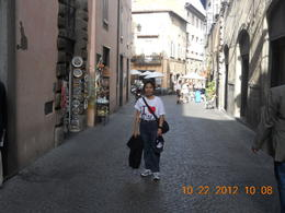 Nila posing on the street of Orvieto , Leonila C - October 2012