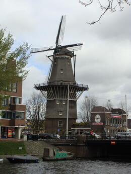 Windmill as seen from canal boat , Sue Ski - May 2012