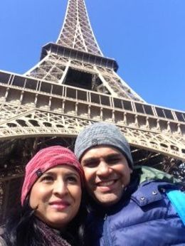 Razin and Anura at the Eiffel tour on the last day of Feb 2015 , Anura T - March 2015