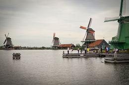 View of Zaanse Schans Windmills from the access road , Hero.sl - October 2015