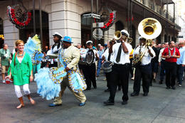 Jazz band marching down Bourbon Street , Howard B - September 2014