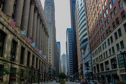 Looking down LaSalle Street in the Financial District., Katie Aune - November 2014