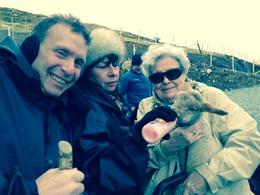 Andy, Liz, and Mom, feeding baby lamb , Helen V - March 2014