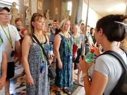 Sabrina is telling us important stuff about the Vatican Museum , Johan N - August 2015