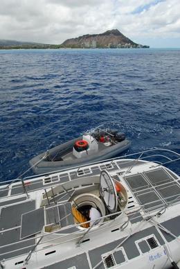 Nice shot of the submarine and the Oahu coastline., Jeff - February 2008