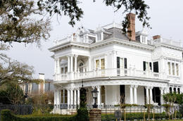 White mansion in traditional style in New Orleans' Garden district - May 2011