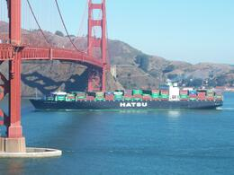Container ship on way out, Charles L - October 2008