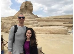 Christian and Veronica Fletcher of Austin, Texas posing in front of the Sphinx. , Veronica - April 2015