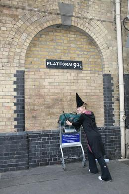 Tayler arriving at Kings Cross Station - Platform 9 3/4 on her way to catch the Hogwarts Express., Sandra S - August 2008