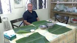 Hubby sitting down at his banana leaf ready to start the feast! , Audi - February 2017