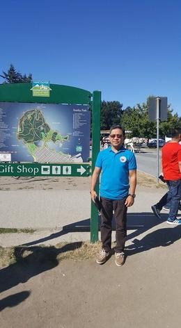 Ben's pose in one of the exciting areas of Stanley Park. , Clara R - September 2017