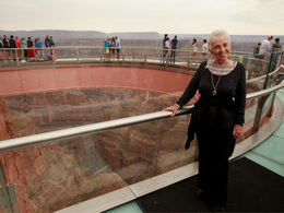 Sharon Johnson was finishing up her walk on the Grand Canyon Skywalk. At the age of 75 this was on her Bucket List and it was worth the wait. Combining God's awesome beauty with man's ingenuity ... , Sharon J - August 2016