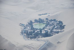 View of Huacachina desert oasis from the air , lrs - November 2015