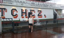 My wife, Karen, checking out the Steamboat Natchez history while waiting on our Brunch Cruse to begin, in New Orleans, LA. , karenalex67 - August 2016