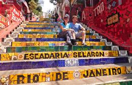 Millie and Rich on the steps of Escadaria Selarón , Richard B - September 2016