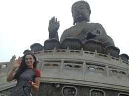 Asha posed with the Big Buddha, Asha & Brock - July 2013