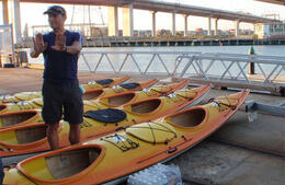 Our guide giving instructions on how to use the kayak pedals - January 2013