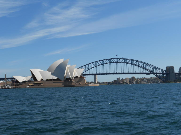 Opera house and Bridge from Ferry - Sydney
