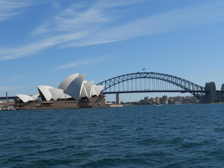 Opera house and Bridge from Ferry - Sydney