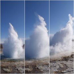 Shots of the geysir in action, goes off every 5-8 minutes so you can see it go off a few times while visiting the site. , Stephanie G - April 2015