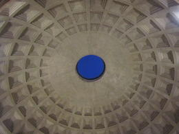 Looking up at the dome inside the Pantheon this 'hole' is 43.3m high and 9 metres across. The rain falls onto the floor but there are small holes and an underfloor network of pipes to drain the ... , Elizabeth J - November 2011