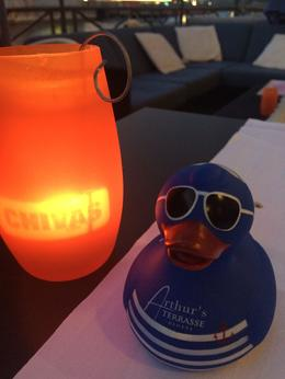 Having a drink with rubber ducky at Arthur's Terrasse, bank of Lake Geneva! , Nily S - March 2017