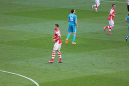 Giroud not too happy after missing a shot on goal, Bandit - May 2015