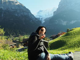 My wife enjoying the landscape..the hill, the mountain, the house, the snow..etc , Ahmad S - November 2014