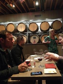 One of the owners talking about the wine, Ginjabread - May 2014