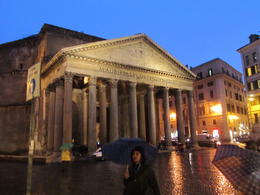 This picture shows our guide outside the Pantheon; still raining and getting dark! Toni's enthusiasm made our rain soaked clothes irrelevant! , Elizabeth J - November 2011