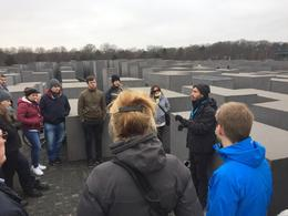 Our guide on the R side introducing us to the Jewish Holocaust Memorial. , Bart D - January 2018