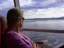 Ocean trout farming on Macquarie Harbour. Lovely wide view windows on this cruise., Greg C - March 2008