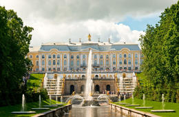 Grand Cascade and Palace in Peterhof, St Petersburg, Russia - July 2011