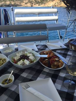 Delicious lunch on board, lots of fresh Greek food!, MarkJ - June 2016