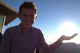 Brock holding the sun, Jules & Brock - September 2012