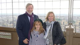 My wife, granddaughter and me with Paris in the background. This picture was taken by our tour guide on the second floor of the Tower.. Thank you, Robert. , Preston H - May 2013