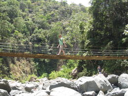 Jarabacoa Waterfall Bridge: Only 4 people could cross each section at time - September 2011