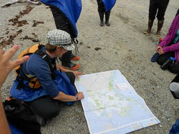 Megan showing the crew where we were! , Gisela d - July 2012