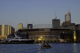 Ethiad Stadium from the Docklands, looking towards the city - January 2013